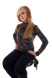 Sitting Fashion Blondie Girl. Royalty Free Stock Images