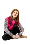 Sitting fashion portrait of young beautiful girl Royalty Free Stock Photo