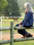 Sitting on the Fence. Lady sitting on a fence looking out at the scene Stock Images