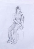 Sitting figure woman, crayon sketch on paper. Sitting figure woman, crayon sketch on paper Royalty Free Stock Photography