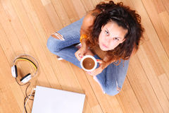 Sitting on the floor Stock Image