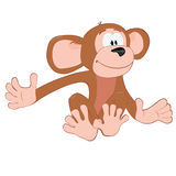 Sitting_funny_monkey. Sitting_funny_colorful_cartoon_monkey Vector Illustration