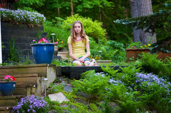Sitting in a garden Stock Image