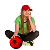 Sitting girl with ball Royalty Free Stock Photo