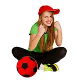 Sitting girl with ball Royalty Free Stock Photography