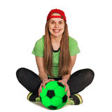 Sitting girl with ball Royalty Free Stock Image