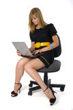 Sitting Girl With Notebook Stock Images