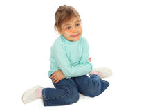 Sitting girl painted for holiday Royalty Free Stock Images