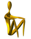 Sitting golden icon. Sitting 3D golden character isolated on a white background Royalty Free Stock Image