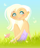 Sitting on a grass. Vector illustration of a girl with flower sitting on a grass Royalty Free Stock Photography