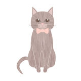 Sitting gray pet cat with textured fur wearing bow tie Stock Photo