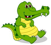 Sitting green crocodile Stock Photo