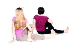 Sitting half spinal twist Stock Photography
