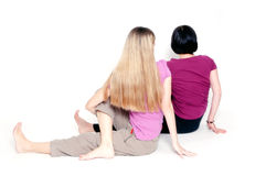 Sitting half spinal twist Stock Images