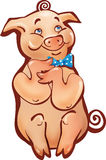 Sitting happy cartoon pig simple Royalty Free Stock Image