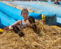 Sitting in the hay bales Royalty Free Stock Photo
