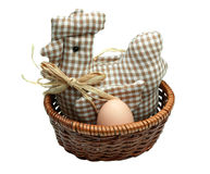 Sitting hen. Mother-hen in the basket hatching layed egg on the white background. Easter Royalty Free Stock Images