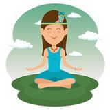 Sitting hippie woman meditating. Hippie woman meditating vector illustration graphic design royalty free illustration