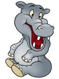 Sitting Hippo. Cheerful Cartoon Illustration, Vector Royalty Free Stock Photo