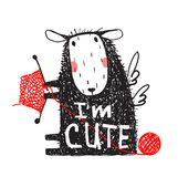 I am Cute Sheep Print with Sign Stock Images