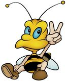 Sitting Honeybee. Colored Cartoon Illustration, Vector Royalty Free Stock Images