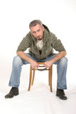 Sitting Intense Man Stock Image