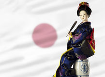 Sitting japanese lady, with flag Stock Photos
