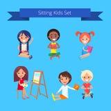 Sitting Kids Set Illustration on Light Blue Stock Photos