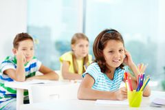 Sitting at lesson Stock Photography