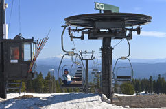 Sitting on a lift Mt. Hood excursion. Royalty Free Stock Photography