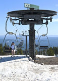 Sitting on a lift Mt. Hood excursion. Royalty Free Stock Image