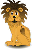 Sitting lion. Sitting cartoon Lion on white background Stock Photos