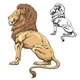 Sitting lion. Illustration of sitting lion in color and outline Stock Photography