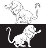 Sitting lion symbol black ana white Royalty Free Stock Image