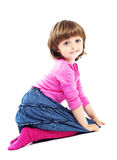 Sitting little girl 3 years old Royalty Free Stock Photography