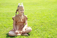 Sitting little indian girl Stock Images