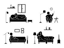 Sitting, lying, smoking cigarette, listening to music, using laptop, drinking whiskey vector icon relaxing posture on sofa. Stick figure resting at home Stock Photos