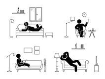 Sitting, lying, smoking cigarette, listening to music, using laptop, drinking whiskey vector icon relaxing posture on sofa. Stick figure resting at home Stock Photo