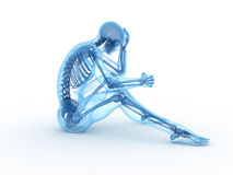 Sitting male with visible bones Stock Photography