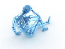 Sitting male with visible bones Stock Image