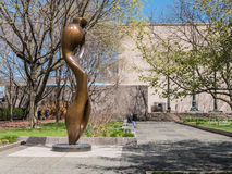 Sitting man with Henry Moore sculpture at Chicago Art Institute Royalty Free Stock Photography