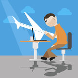 Sitting man with laptop in airport. Vector illustration stock illustration