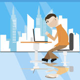 Sitting man with laptopover near city window. Vector illustration stock illustration