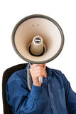 Sitting man with megaphone instead of a head. Sitting man with megaphone in hand on the white background Royalty Free Stock Photography