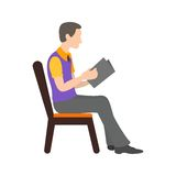 Sitting Man Reading royalty free illustration