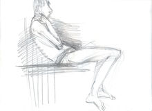 Sitting man sketch. Hand drawn illustration of a man in a sitting position, original artistic sketch over white Royalty Free Stock Image
