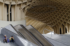 Sitting by the Metropol Parasol Stock Images