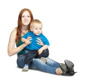 Sitting mother with her son Royalty Free Stock Image