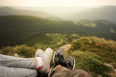 Sitting in mountains Royalty Free Stock Photos