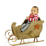 Sitting in My Christmas Sleigh stock images